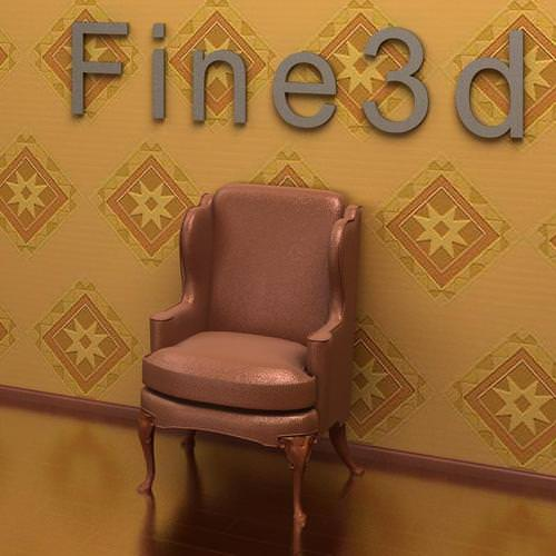 Wing Back Chair Antique-09-085-Sofa3D model