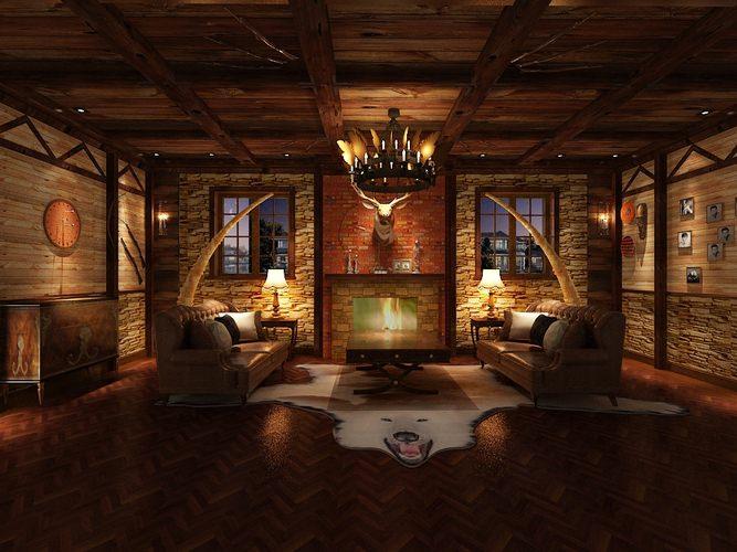 Hunting Lodge Interior Living Room3D model
