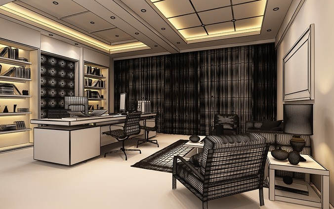 Photoreal executive office 3d model max for Office design 3d max