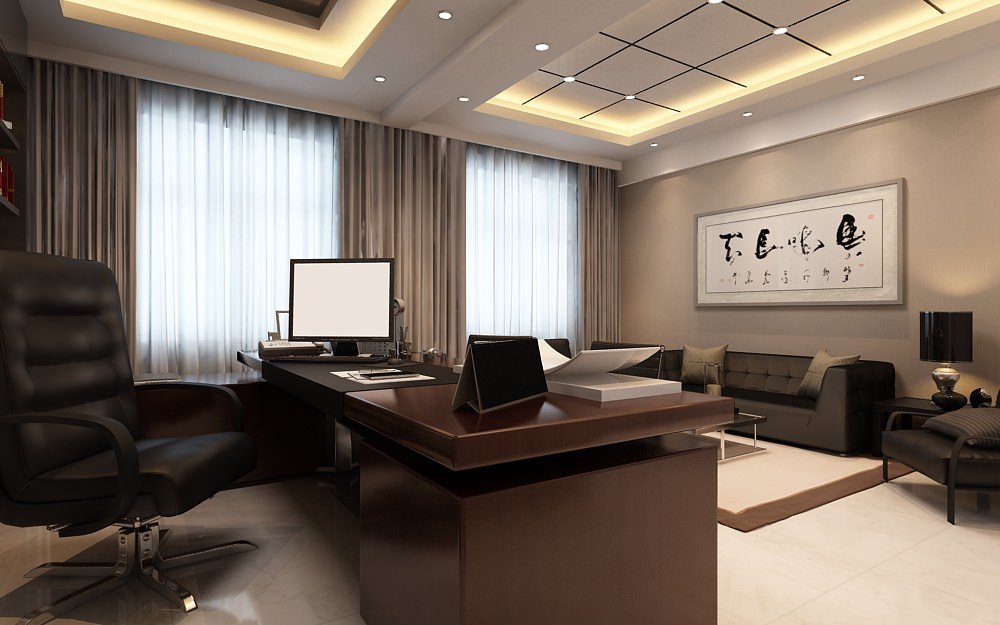 Photoreal executive office 3d model max for Decor 3d model
