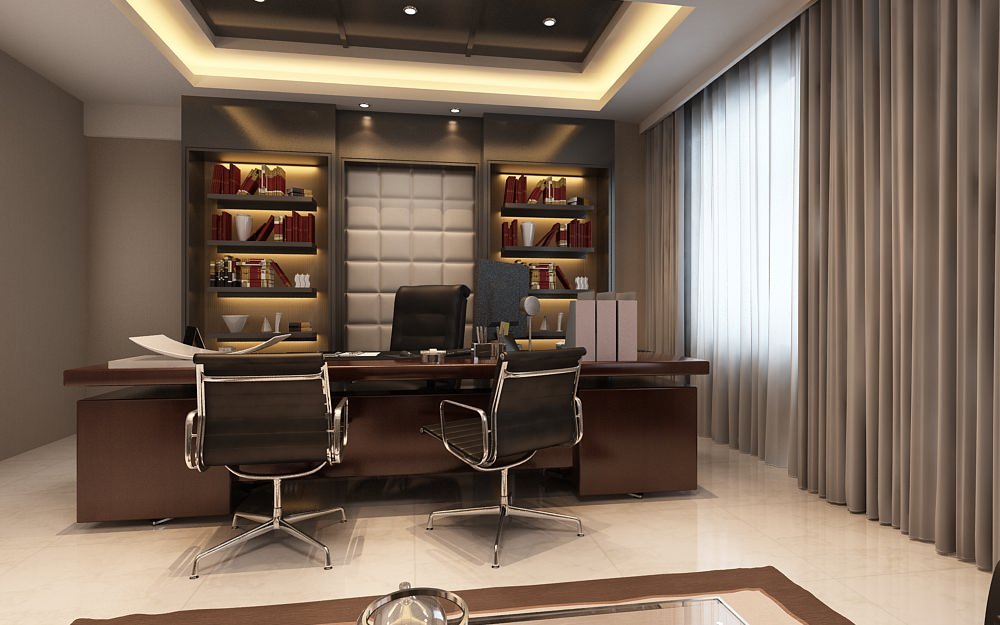 Photoreal executive office 3d model max for Office design 3d