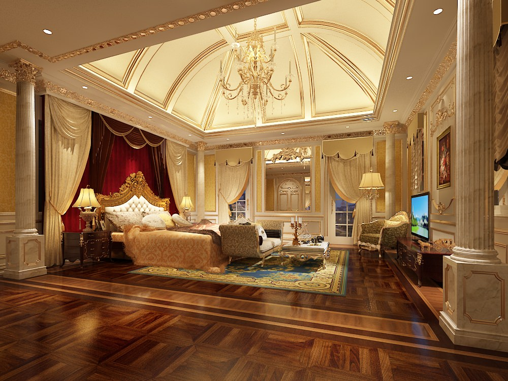 Luxury bedroom photoreal 3d model max for Nice hotel design