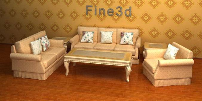 furniture suite traditional style 08-052 3d model max obj 3ds 1