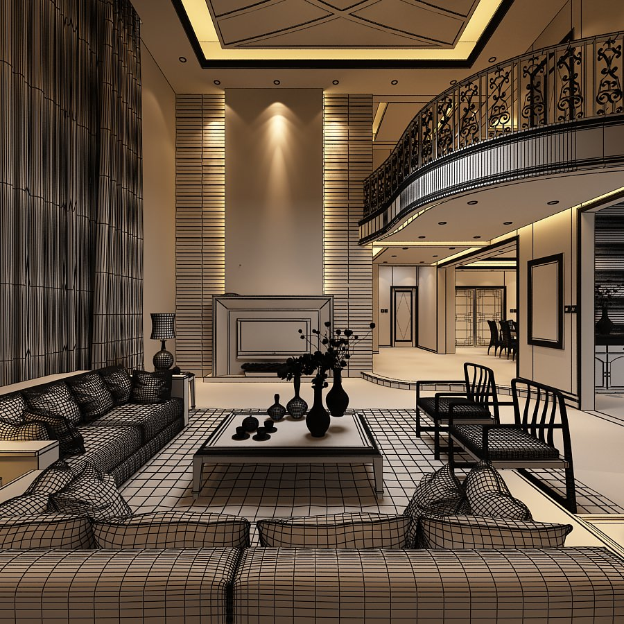 Elegant Living Room With Balcony 3d Model Max 1 ...
