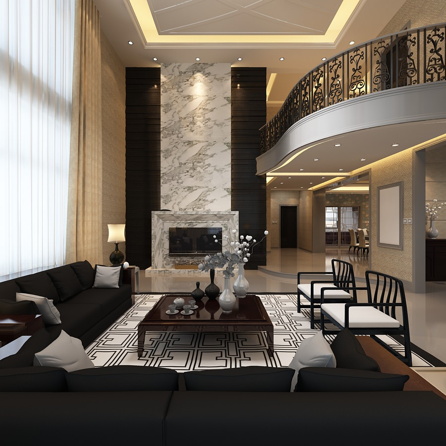 elegant living room with balcony 3d model max