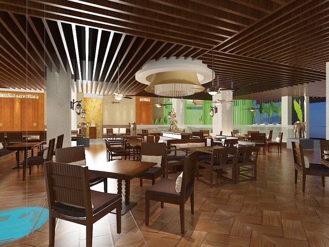 Restaurant dining room 3d model cgtrader for Dining room 3d max interior scenes
