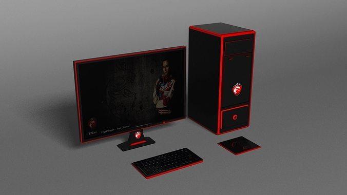 msi gaming pc 3d model max 1