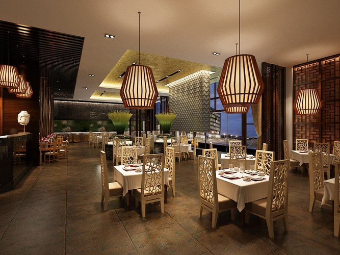 Restaurant dining room 3d model max for Dining room 3d model