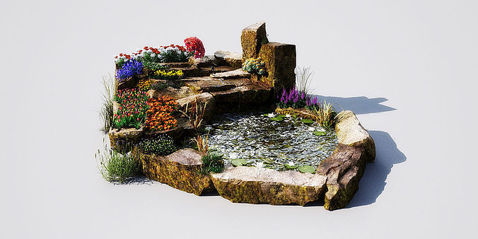 3d model garden pond 11 am148 cgtrader for Gardening tools 3d model