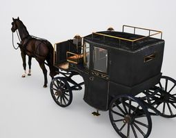 3d model brougham with horse low poly VR / AR ready