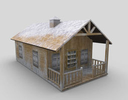 3D asset Snow Covered Cottage House