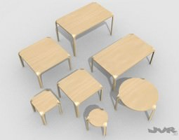 3D model Alvar Aalto X-leg furniture set