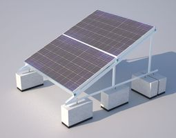 low-poly 3d model solar installation accurate and actual construction detail