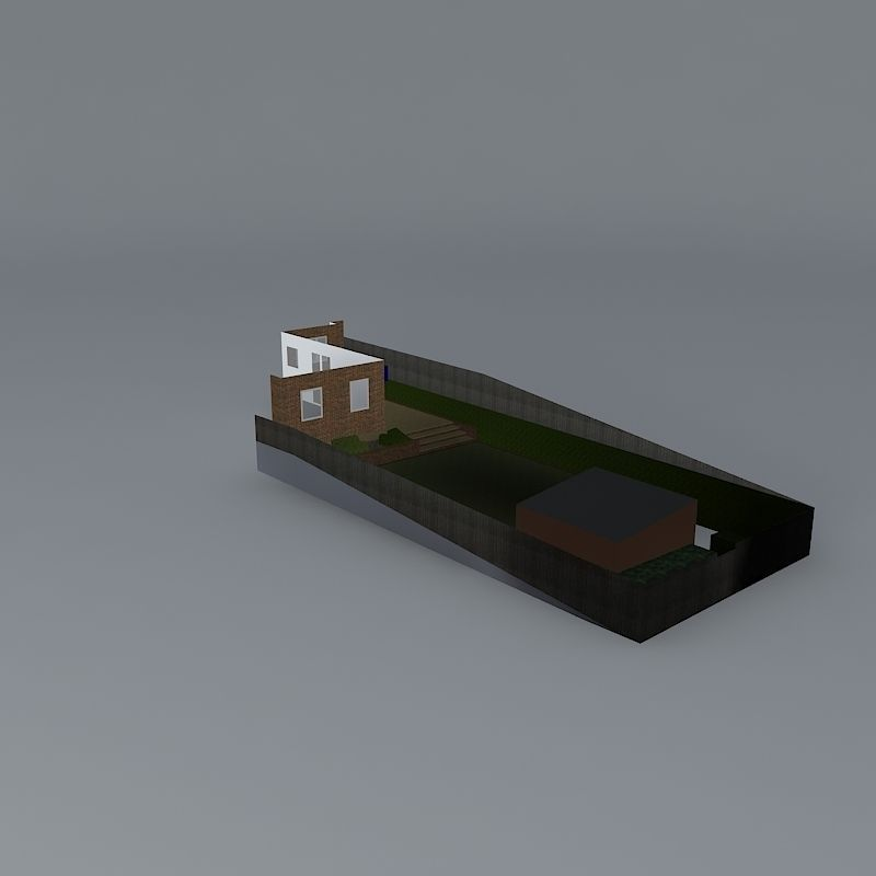 Sloping Garden Design With Simple Clean Li Free 3d
