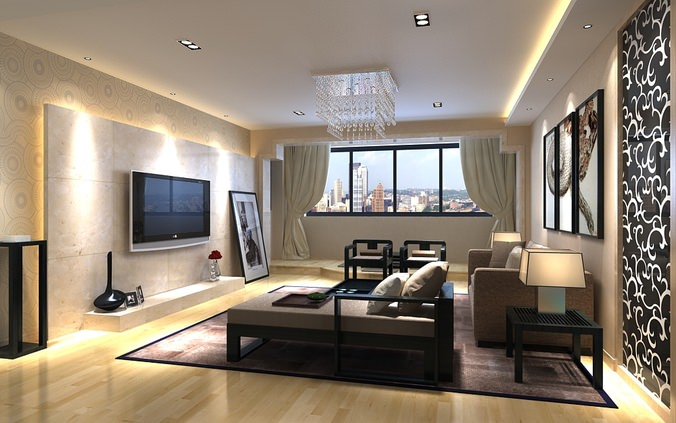Photorealistic living room with city view 3d model max for Living room designs 3d model