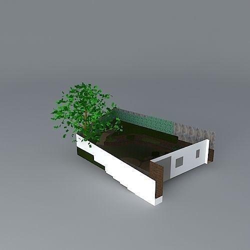 3d Terraced Garden Design For Sloping Site Cgtrader