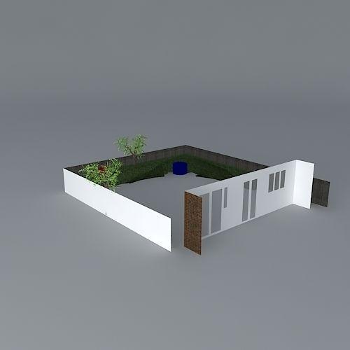Simple Rear Garden Design Free 3d Model Max Obj 3ds