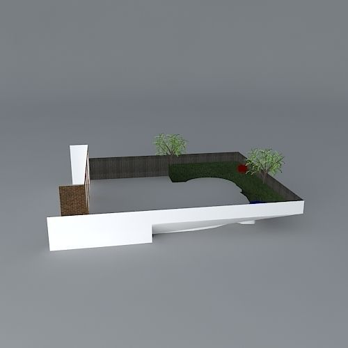 Simple rear garden design free 3d model max obj 3ds for Garden design in 3ds max