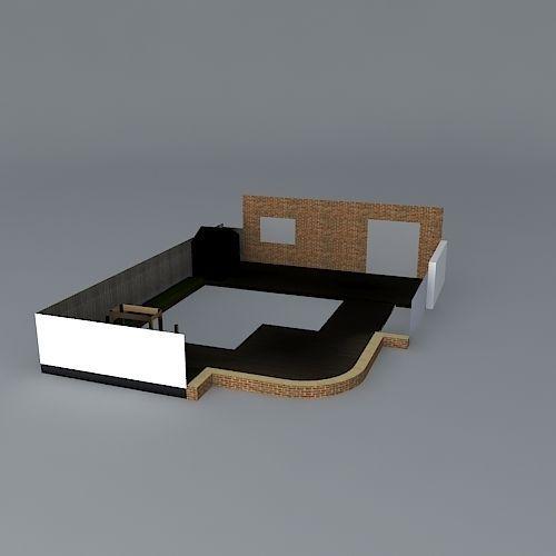 Contemporary Rear Garden Design Free 3d Model Max Obj