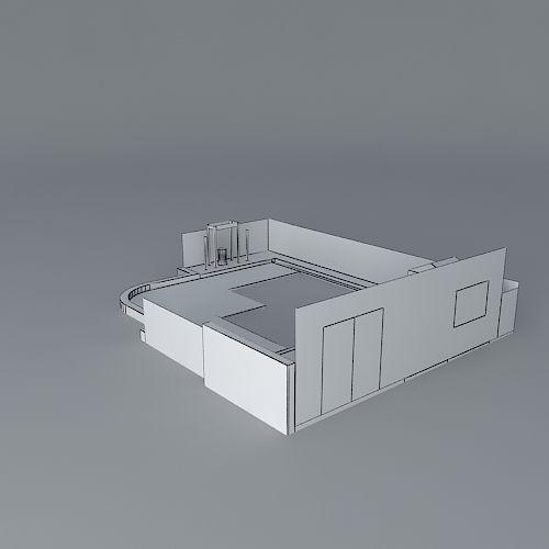 Contemporary rear garden design free 3d model max obj for Garden design in 3ds max