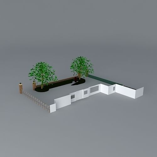 Front Garden With Blocks And Gravel Free 3d Model Max