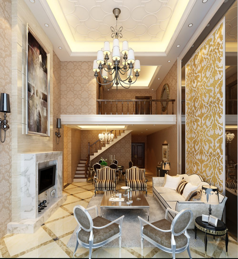 Photorealistic Luxurious Loft-type Living Room 3D model MAX