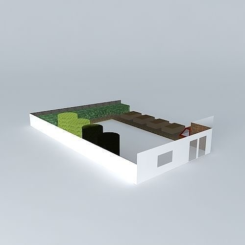 Simple garden design with raised beds 3d cgtrader for Garden design in 3ds max