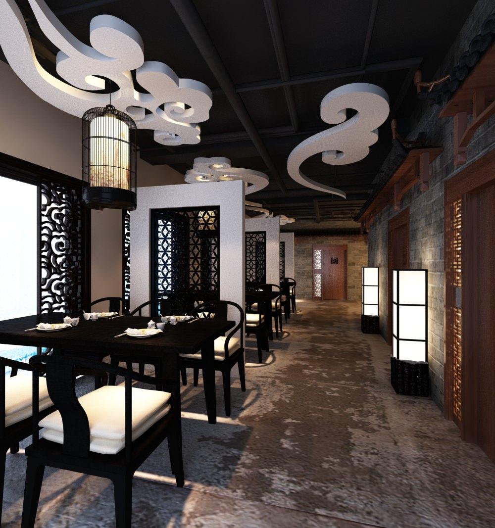 Oriental type restaurant interior d model max cgtrader