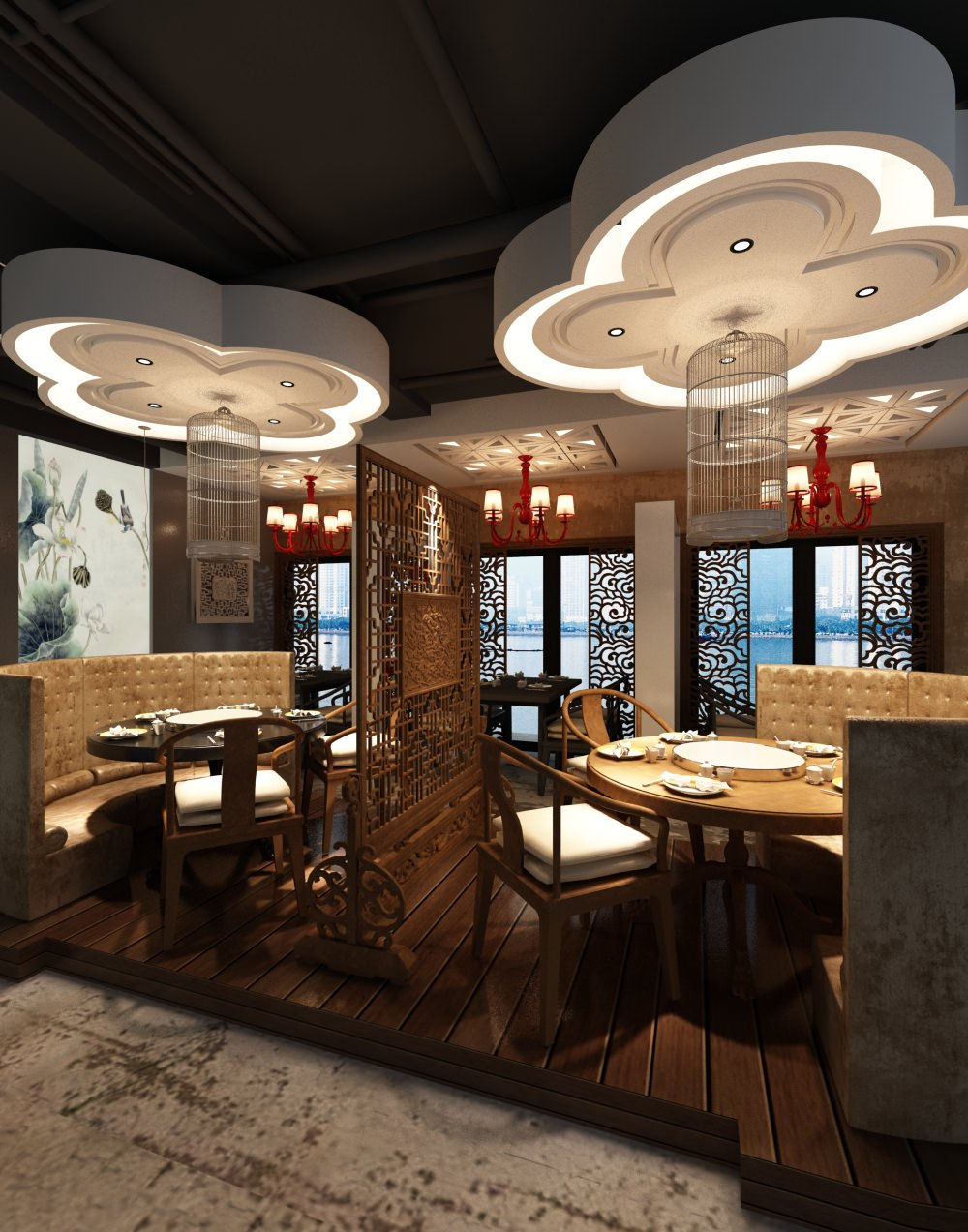 Photorealistic restaurant interior d model max cgtrader