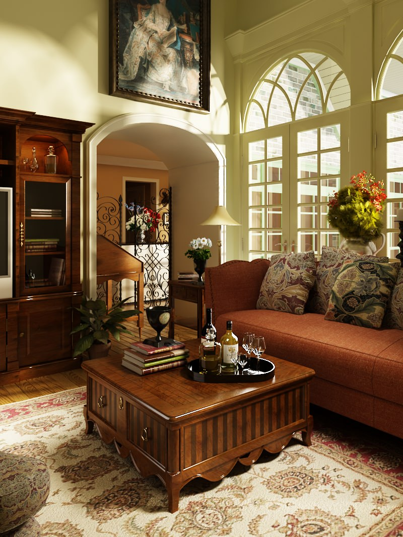 marvelous old fashioned living room | Photorealistic Old-fashioned Living Room 3D Model .max ...