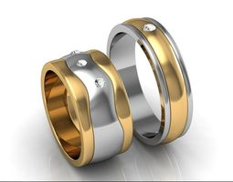 3d printable model wedding rings couple