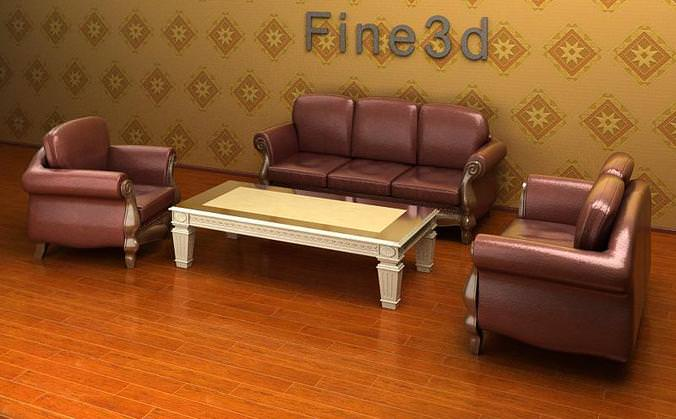 Sofa combination coffee table 3d model max obj 3ds for New model living room furniture