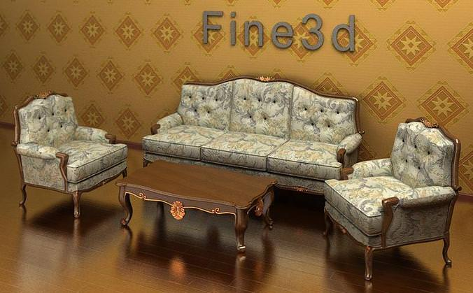 3d living room furniture set cgtrader for New model living room furniture