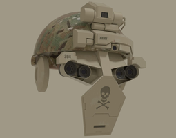 low-poly sci fi army helmet 3d asset