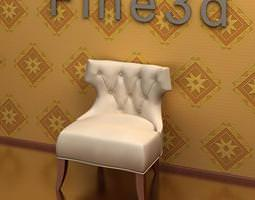 White Leather Chair 3D