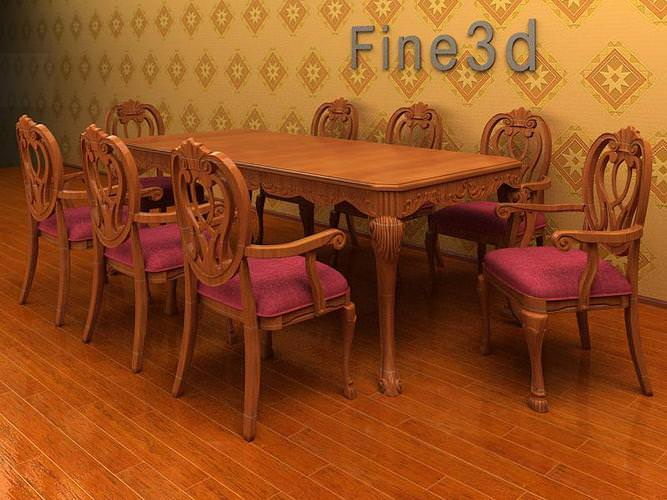 Large dining table 3d model max obj 3ds for Dining room table 3ds max
