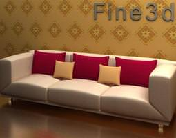 Large sofa with different size cushions 3D model