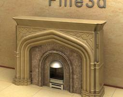 fire place with marble details 3d