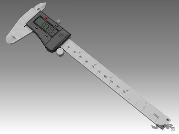 digital caliper 3d model max obj 3ds fbx mtl pdf 1