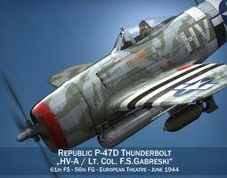 Republic P-47D Thunderbolt  - Lt Col  F S Gabreski 3D Model