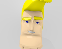 3D model Cartoon Handsome Guy Head Rigged
