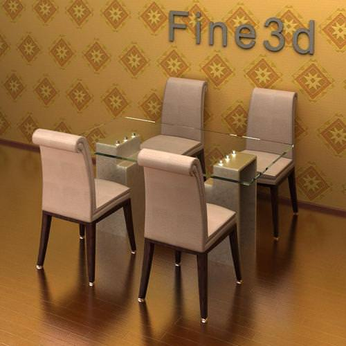 3d dining table cgtrader for Dining room table 3ds max