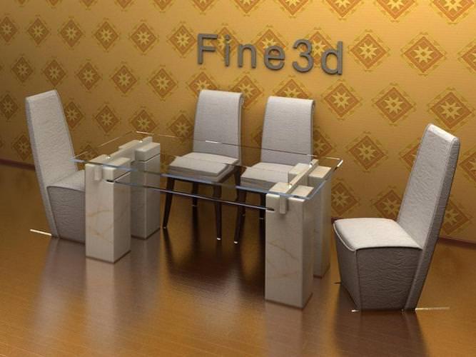 Dining room set 3d model max obj 3ds for Dining room 3d max model