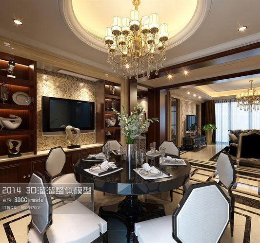 stylish luxury restaurant design 78 3d model max tga