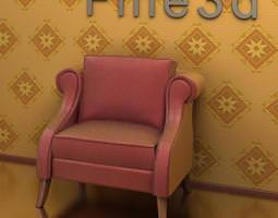 red leather armchair 3d model