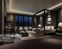 stylish luxury bedroom design 03 3d model