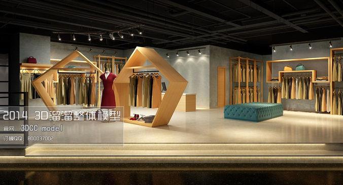 fashion showroom store design 03 3d model max 1