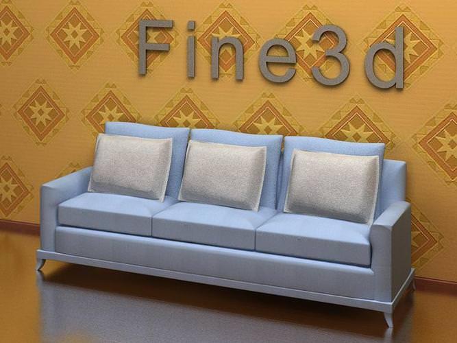 Light Blue Color Sofa 3D Model .max .obj .3ds - CGTrader.com