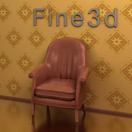Brown leather chair with studs 3d model max obj 3ds for Brown leather couch with studs