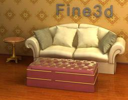 3d model yellow sofa with red stool
